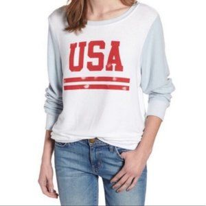WILDFOX USA Baggy Beach Jumper Graphic Pullover M